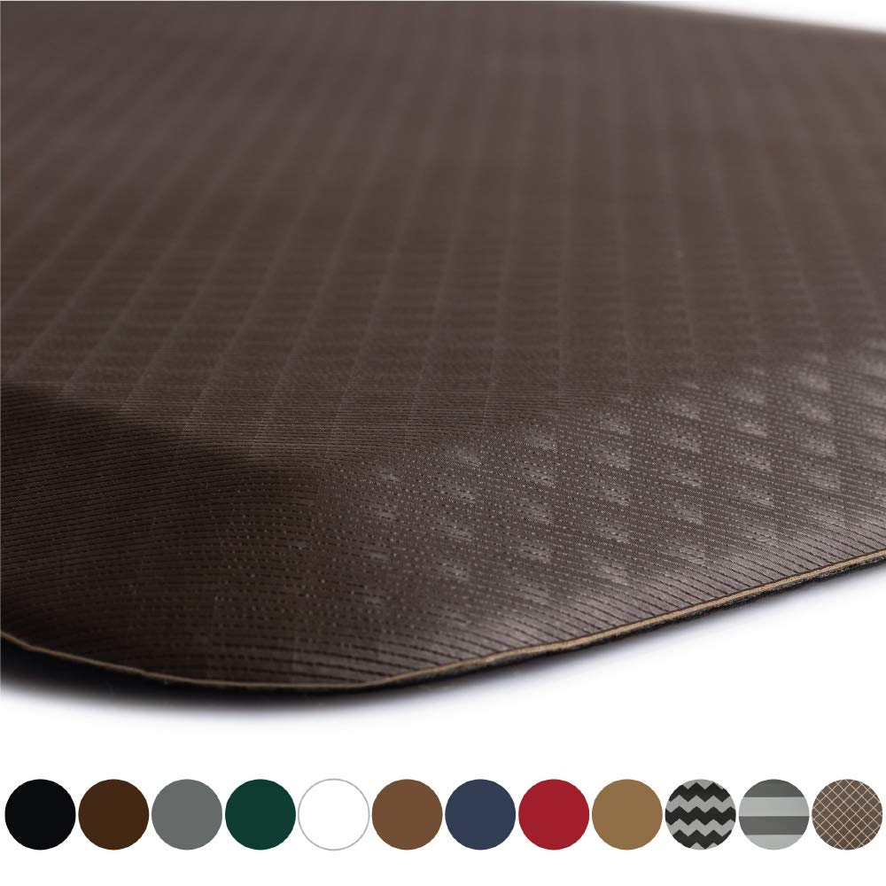 """KANGAROO BRANDS Original 3/4"""" Anti Fatigue Comfort Standing Mat Kitchen Rug, Phthalate Free, Non-Toxic, Waterproof, Ergonomically Engineered Floor Pad, Rugs for Office Stand Up Desk, 39x20 (Brown)"""