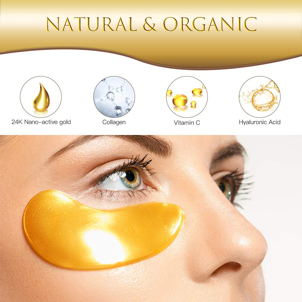 Eye Patches, HOPEMATE Under Eye Mask, 24K Gold Eye Treatment Mask, Dark Circles Gel Pads, Under Eye Bags Treatment, Eye Mask for Puffy Eyes, Anti-Wrinkle Undereye Dark Circles with Eye Cream, 20 Pairs