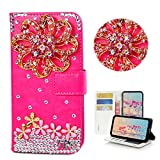 STENES Moto Droid Turbo 2 Case - Stylish - 3D Handmade Bling Crystal Luxury Crystal Flowers Floral Design Wallet Credit Card Slots Fold Stand Leather Cover for Moto Droid Turbo 2 - Hot Pink