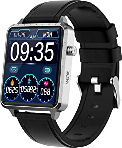 MAXTOP Smart Watch for Android iOS Phone Fitness Tracker with Music Control &Blood Pressure &Heart Rate Monitor Step&Calorie Counter &Sleep Tracker,Metal Shell