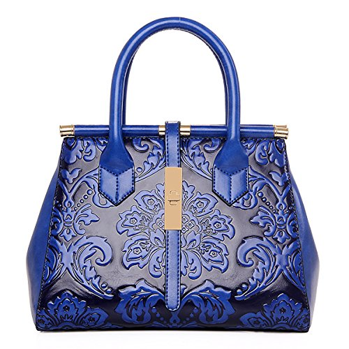 Longue de Marron avec Sac Fleurs Rétro Main Embossage Coolives Bleu Bandoulière Femme à wFx8EPP