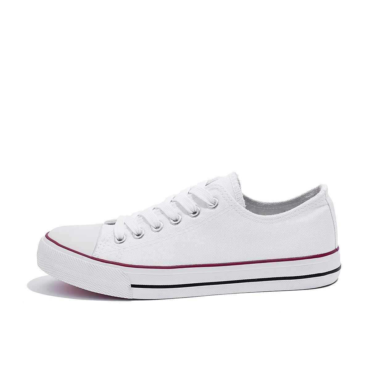 AOMAIS Womens Canvas Shoes Sneaker Low Top Lace up Fashion Walking Shoes (US7, white1) … by AOMAIS (Image #2)