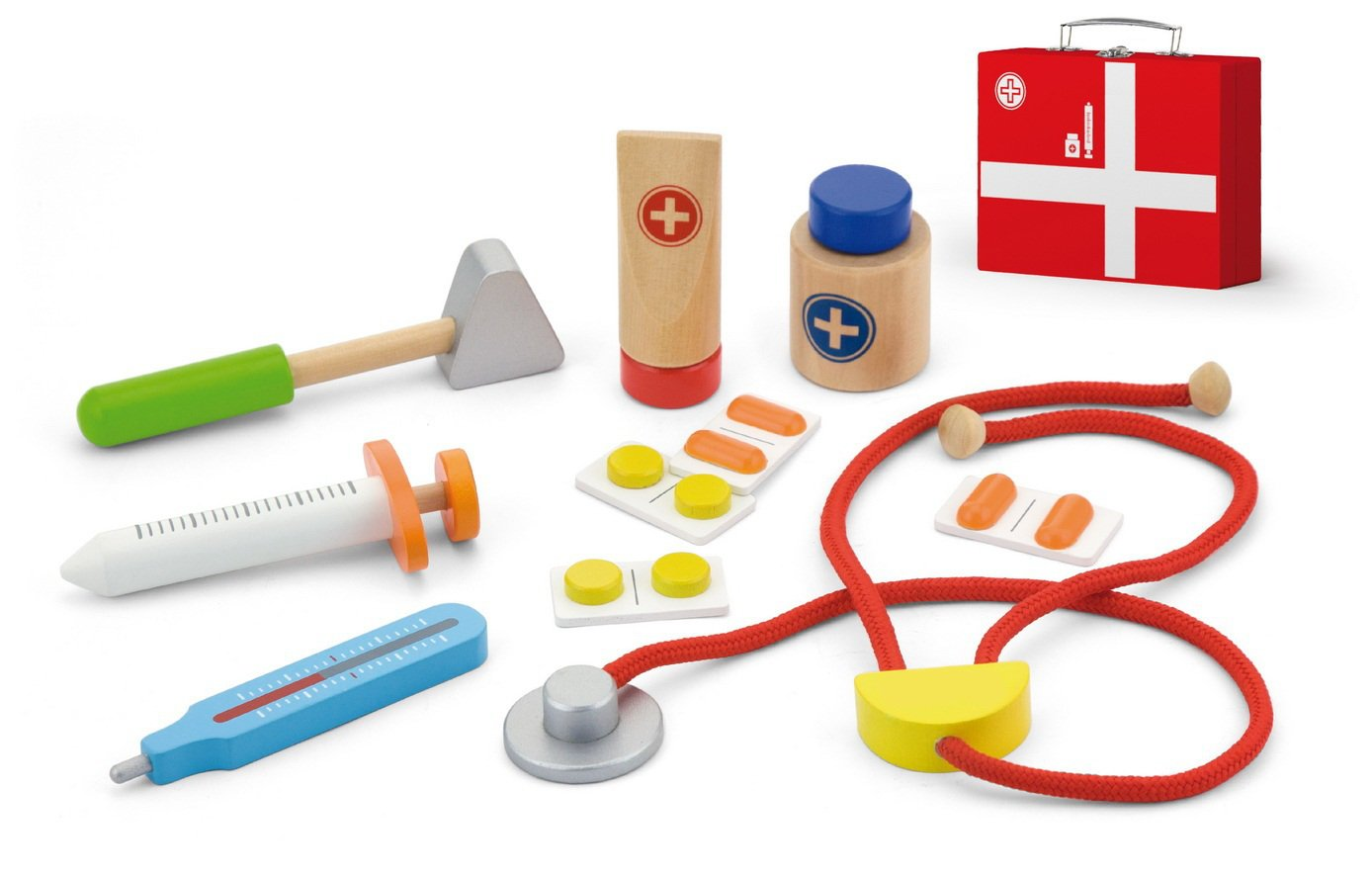 Top-Rennen 10 Stück Kids Doctor Set, medizinische Holzwerkzeug Kit, Nicht toxische Holz und klappbare medizinische Kit, Arzt Rollenspiel TR-W400 Hobbit Village