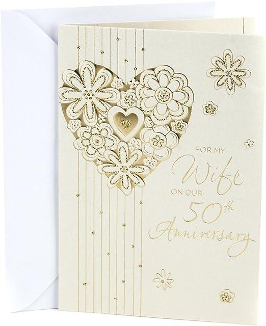 GOLDEN ANNIVERSARY CARD GOLD GLITTER HEART DESIGN QUALITY CARD /& LOVELY VERSE