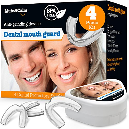 Night Guard with Storage Case - Custom Moldable Dental Guard - Pack of 4 Big and Medium - Bite Splints for Sleeping - BPA (Prevent Tooth)