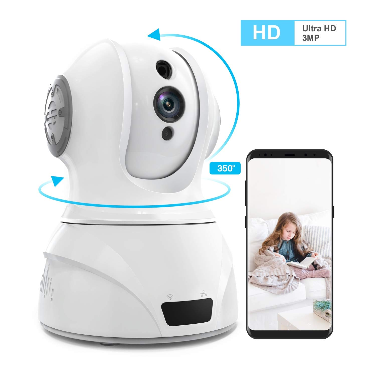 Home Security Camera Wi-Fi IP Camera, Wonbo Wireless HD 3MP Pan Tilt Zoom 2.4G with 2-Way Audio, Motion Detection, Night Vision, Remote Monitor for Baby Pet Elder, Supports ALEXA Android iOS – White
