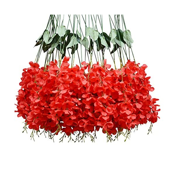 Hlingo 50 pcs Artificial Flowers Bulk Fake Silk Wisterial Vine for Home and Weding Decorations (red)