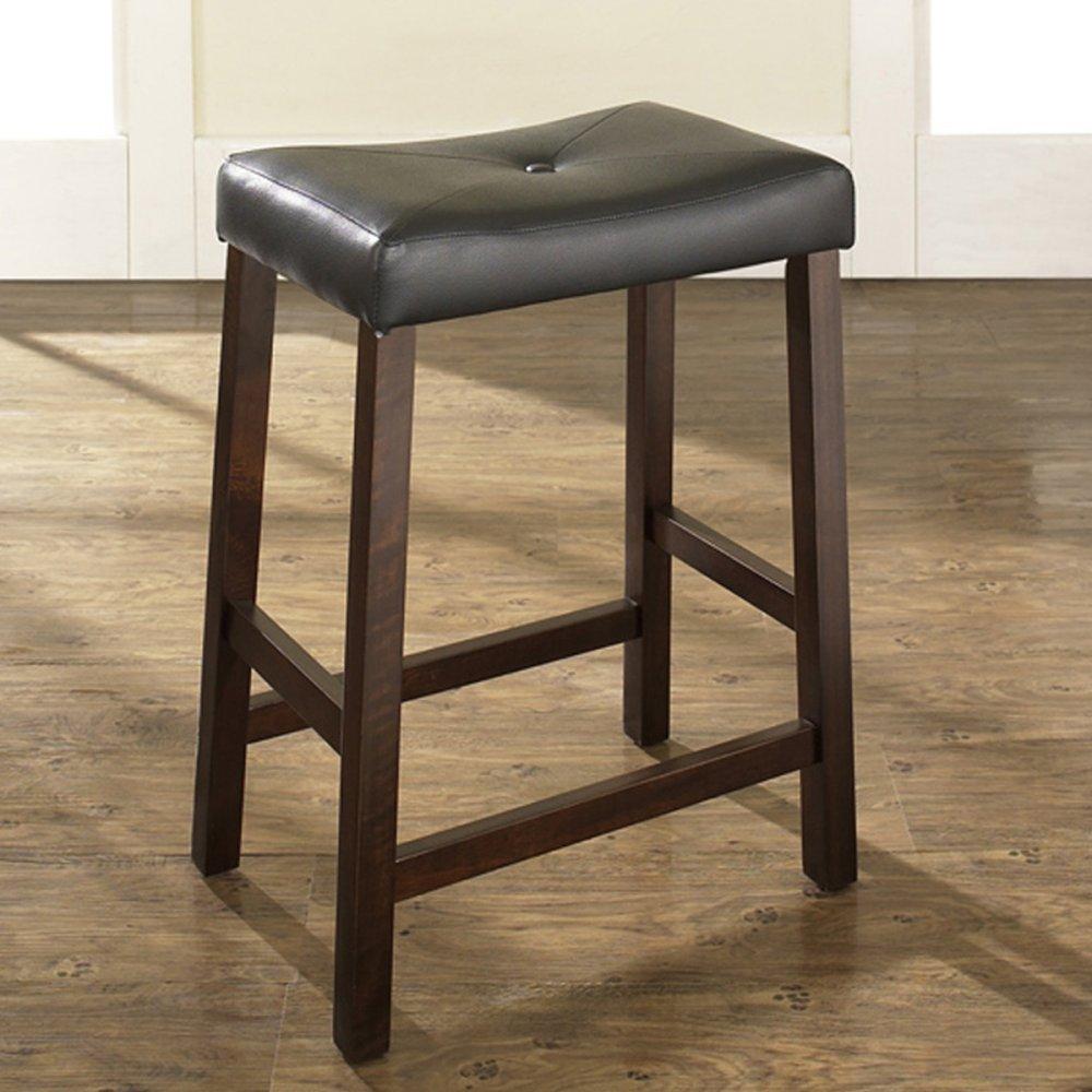 Amazon.com: Crosley Furniture Upholstered Saddle Seat 24-inch Bar ...