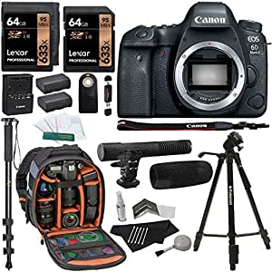 Canon EOS 6D Mark II Digital SLR Camera Body, Lexar 64GB, Ritz Gear Photo Camera Backpack, Tripod, Battery, Cleaning Kit, Monopod and Accessory Bundle