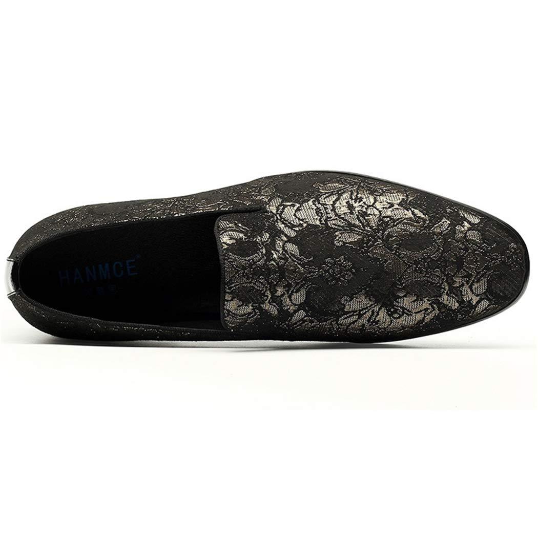 LYMYY Herrenschuhe Fashion Stickerei Retro Casual Schuhe Komfortabel Schuhe, Und Atmungsaktiv Einfache Haarstylisten Schuhe, Komfortabel Geeignet Für Nachtclubs/Arbeit/Alltagskleidung Gold dad264