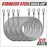 ColourTree 48 Feet (12ft x 4) PVC Coated Stainless Steel Metal Wire Cable Ropes Hardware Kits For Square and Reactangle Sun Shade Sail Canopy - Commercial Standard Heavy Duty