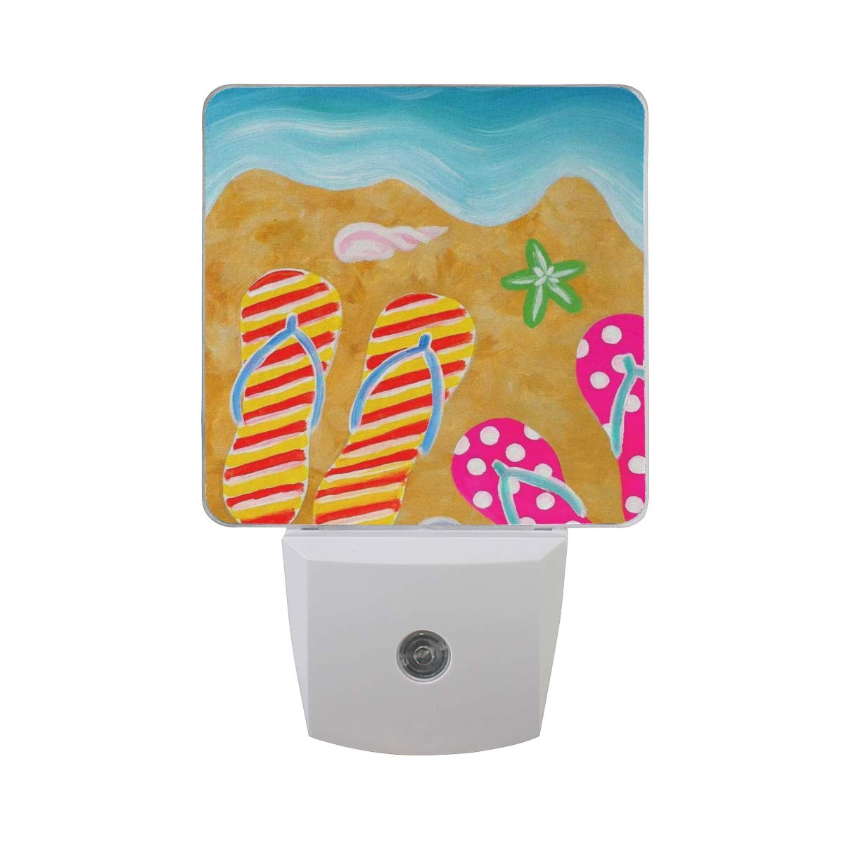 Night Light Summer Flip Flops Sun Led Light Lamp for Hallway, Kitchen, Bathroom, Bedroom, Stairs, DaylightWhite, Bedroom, Compact