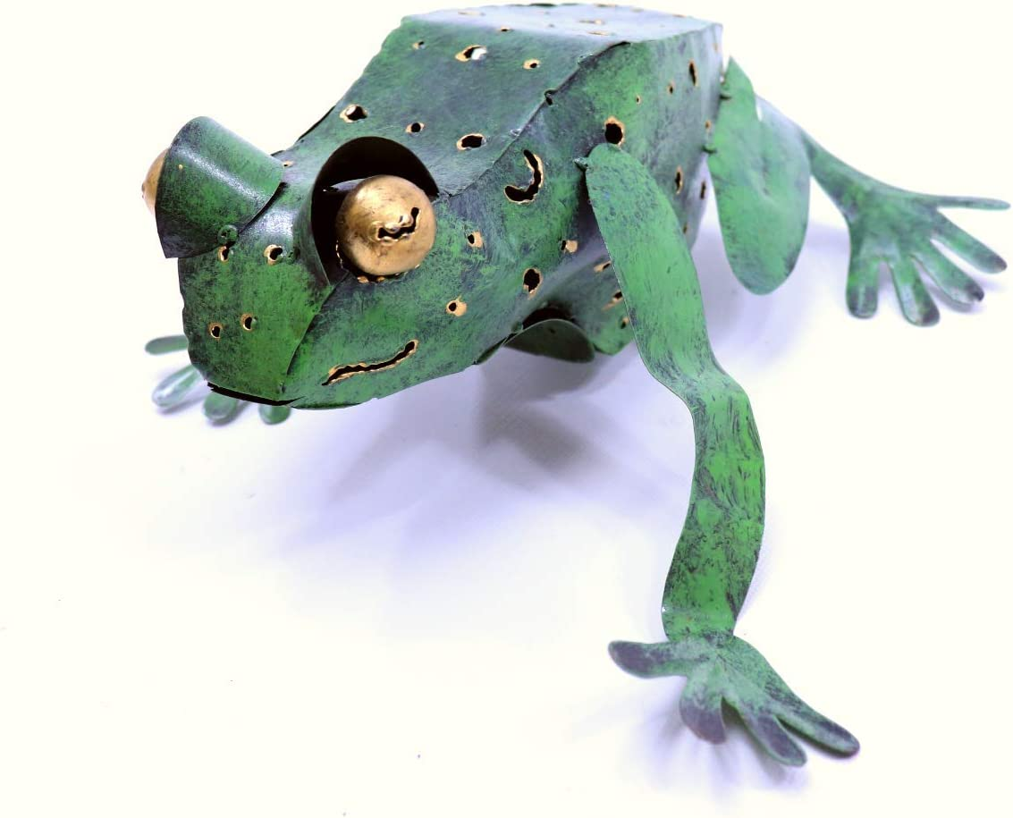 Metal Sculpture Wall Climbing Frog Whimsical Rustic Folk Art Decor 12 Inches Long By 10 Inches Wide By 5 Inches Tall Everything Else