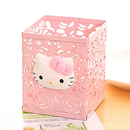 05950b5cb Amazon.com : YOURNELO Cute Hello Kitty Hollow-Out Pen Pencil Holder Desk  Organizer Accessories (Pink 3) : Office Products