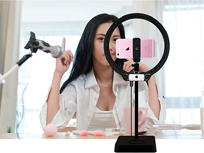 IV-ydzxx Tabletop Ring Light with Mini Tripod Stand /& Cell Phone Holder for Live Stream Makeup Mini Led Camera Ringlight for YouTube Video Photographyy,2