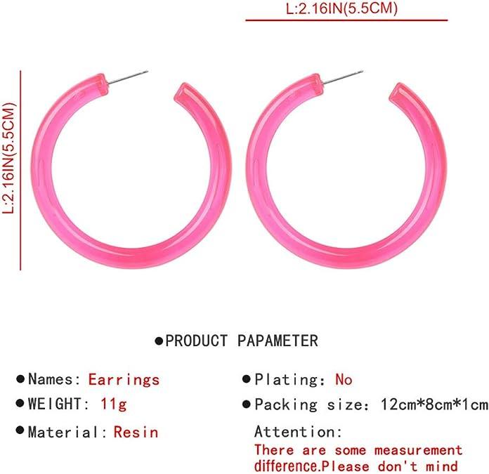 XBKPLO Earrings for Womens Fashion Jelly Color Hoop Earrings Dangling Long Stud Drop Wild Lady Gifts Fine Jewelry Accessories