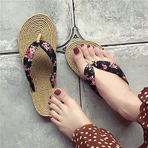 Beach Slippers Zapatillas Flor Flip Summer and Negra Wear Lady De Desmenuzada L Flop Y Zapatos Playa 40 q6F0wt6Y