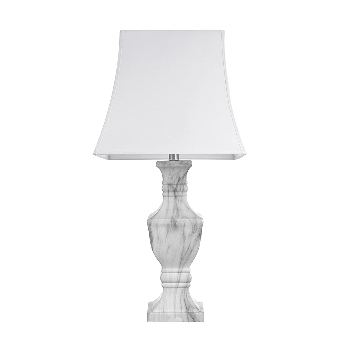 Globe Electric 12751 Marble Finish Table Lamp, White