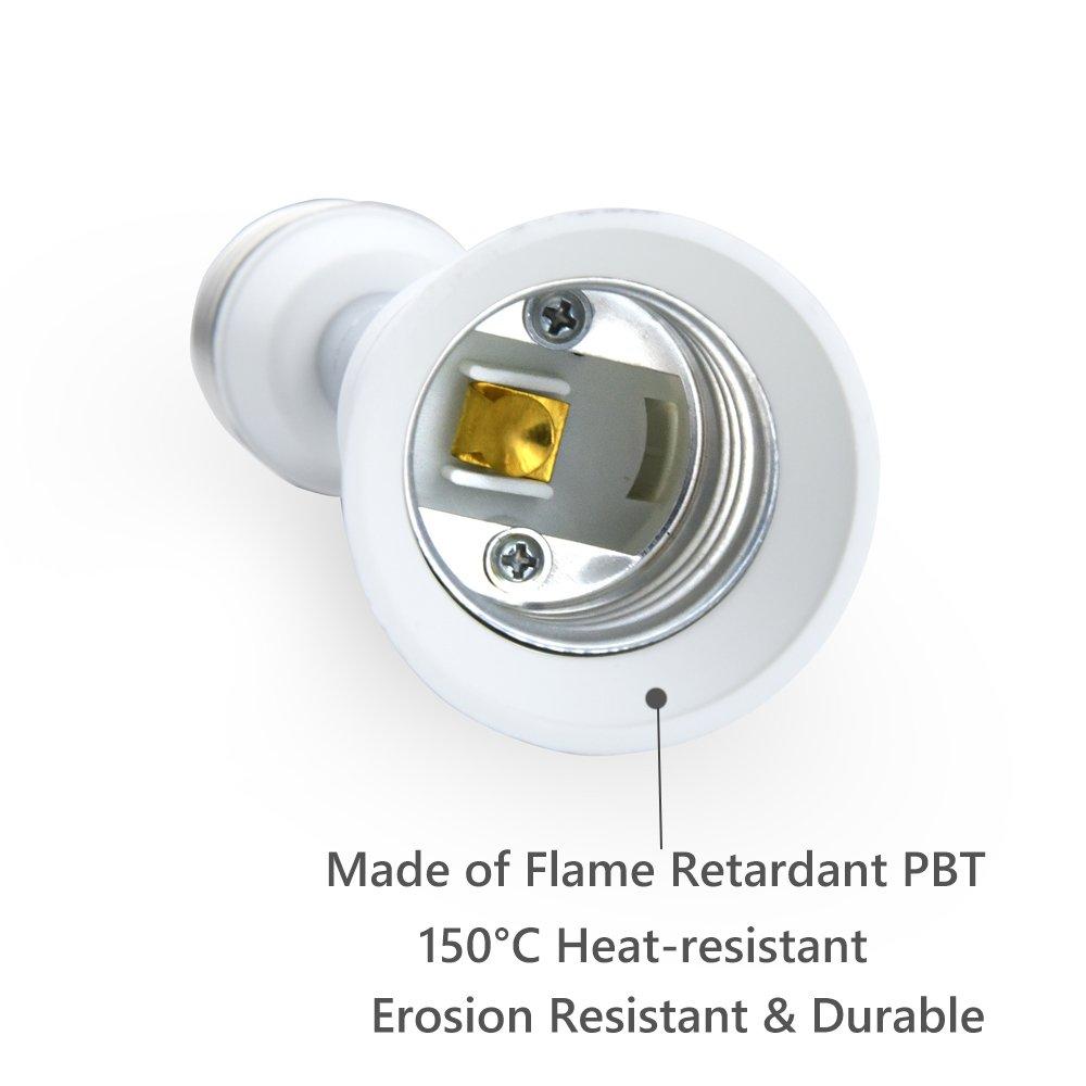 Bonlux E26/E27 Light Socket Extender Adapter, E26/E27 to E26/E27 Adjustable Extension, Flexible Medium Screw Base Light Bulb Socket Converter, Adjustable Vertical 90° Horizontal 360° (5-Pack) by Bonlux (Image #4)