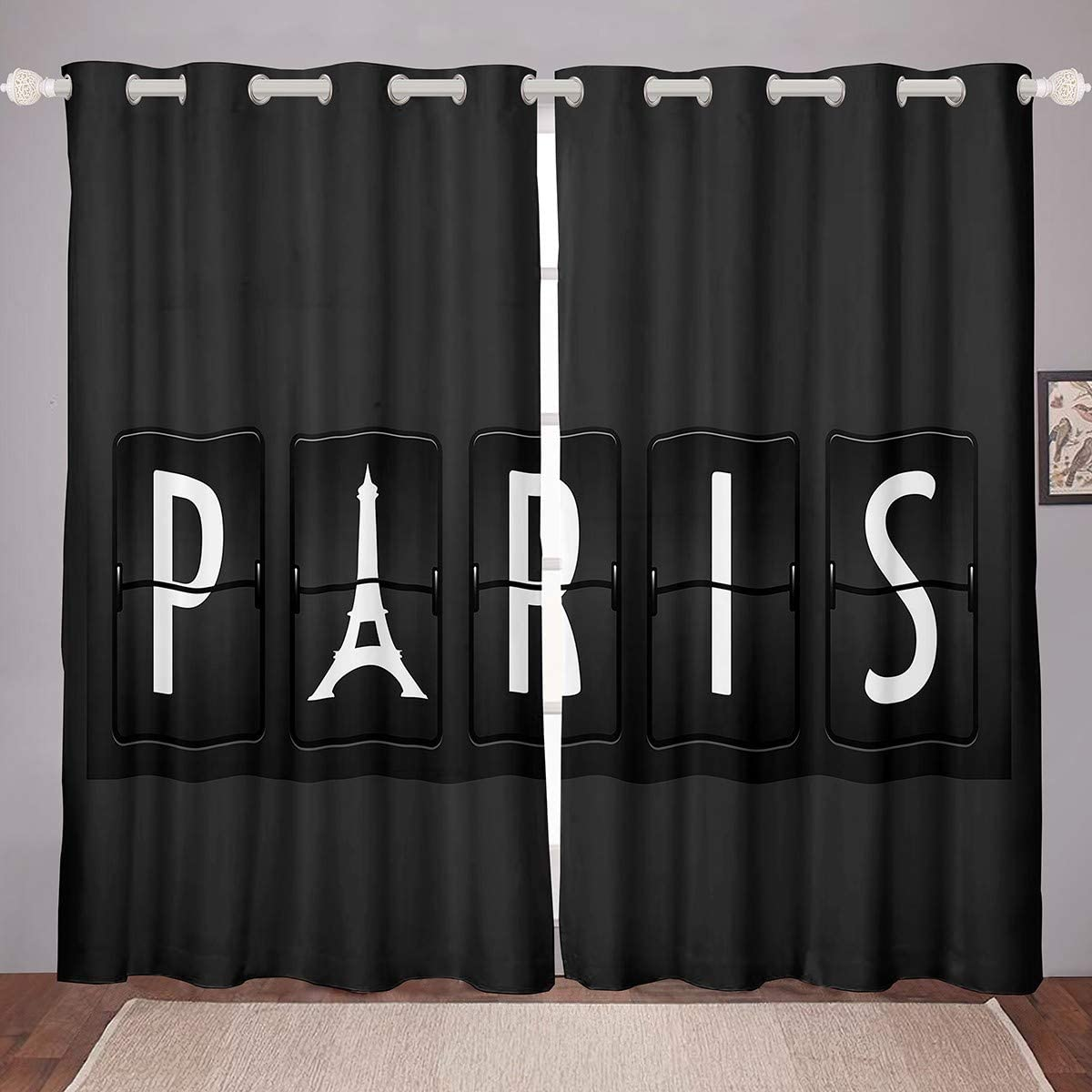 Eiffel Tower Curtains Chic Paris Theme Window Curtains for Bedroom Living Room for Kids Boys Girls Paris Cityscape Window Drapes White Black Modern Decor Window Treatments,38 X 45 Inches,2 Panels…