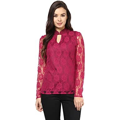 Abiti Bella Women's Keyhole Fushia Lace Top Women's Tops at amazon