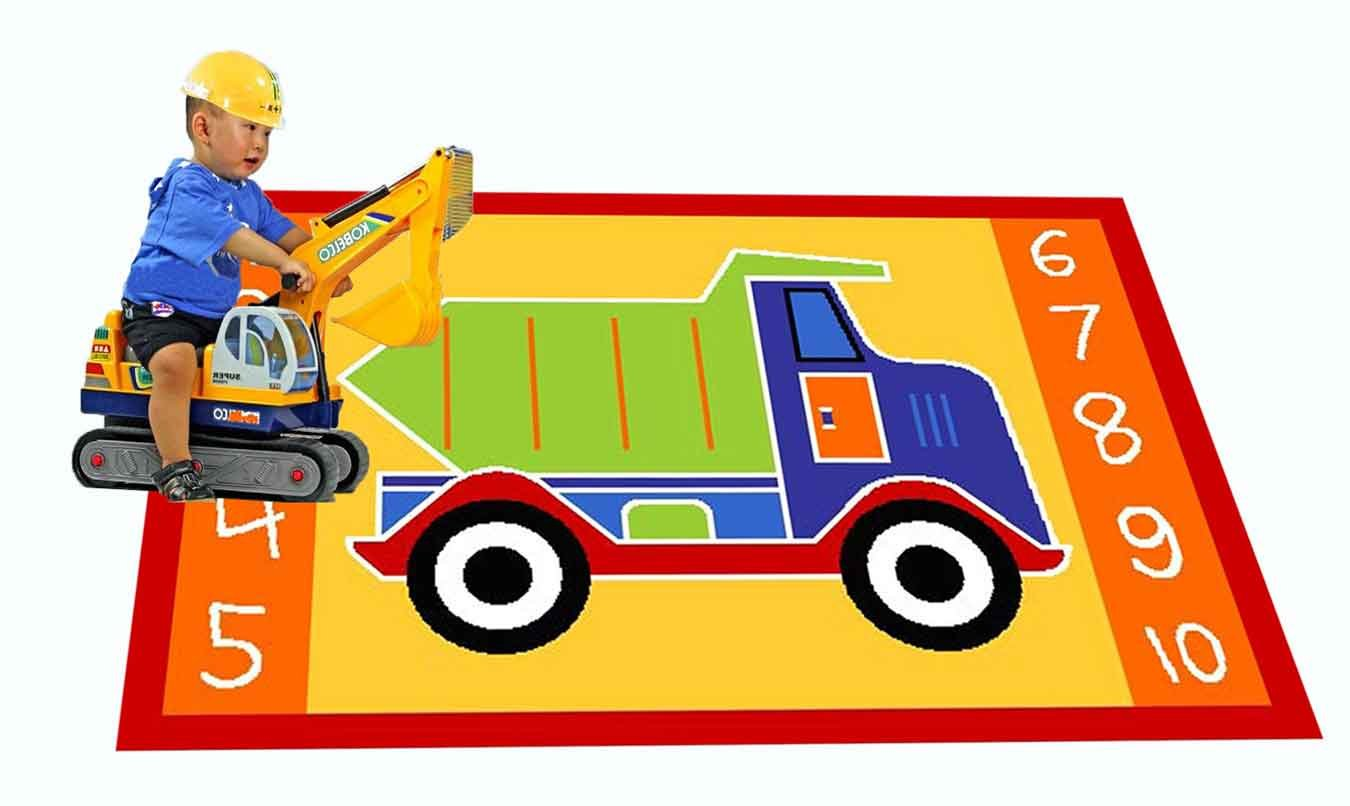 amazon com kids rug dump truck area rug 5 u0027 x 7 u0027 children area rug