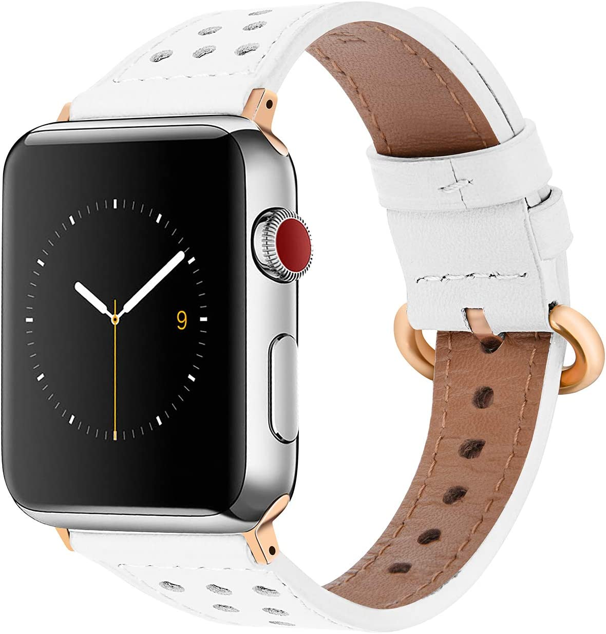 EAVAE Watch Bands Compatible with Apple Watch Bands 40mm 38mm, White Leather iWatch Bands for Apple Watch Series 5 4 3 2 1