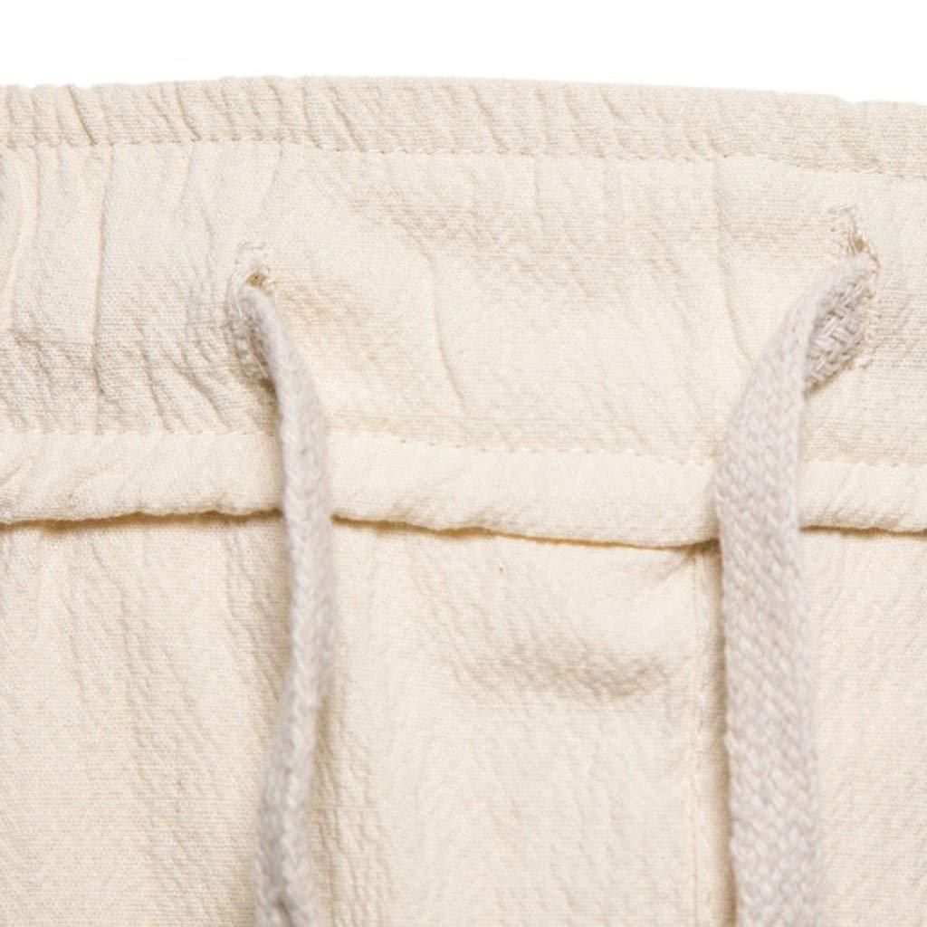 BingYELH Mens Summer Casual Lounge Baggy Patchwork Linen Shorts Harem Capri Pants Drawstring Joggers Workout Yoga Pants