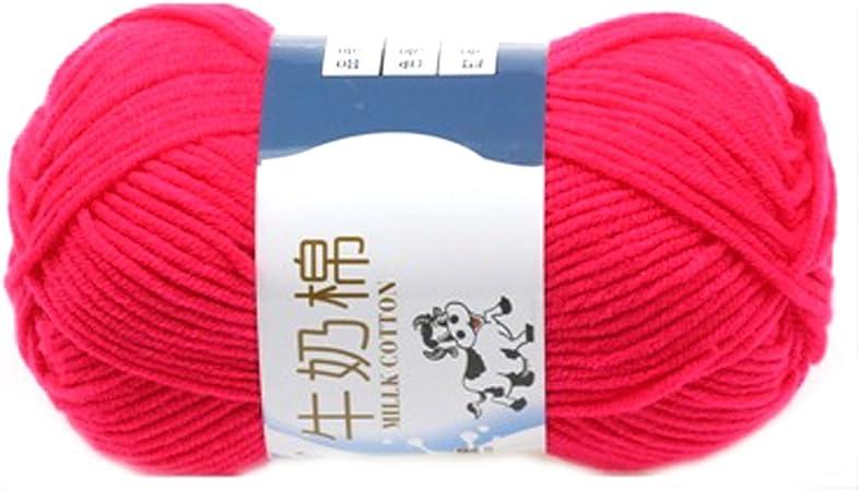 Suave Suave Leche de algodón natural de la mano de tejer lana de lana bola del hilado del bebé Craft-rojo de la sandía: Amazon.es: Hogar
