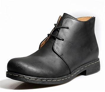 Zapatos de hombre Cuero Casual Caucho Desierto Derby Con cordones Loco Botas de caballo Mocasines Negro Marrón Talla 39 a 46: Amazon.es: Deportes y aire ...