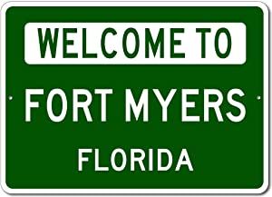 """VinMea Personalized Metal Sign Indoor/Outdoor Wall Decor,Fort Myers, Florida - Welcome to Us City State Sign - Aluminum 12"""" X 18"""" Inch, Man Cave Street Sign,"""