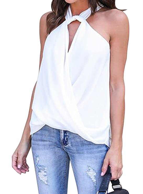 e0ed8737b9 Black Memory Women's White Summer Sleeveless High Neck Halter Cami Tank  Tops L at Amazon Women's Clothing store: