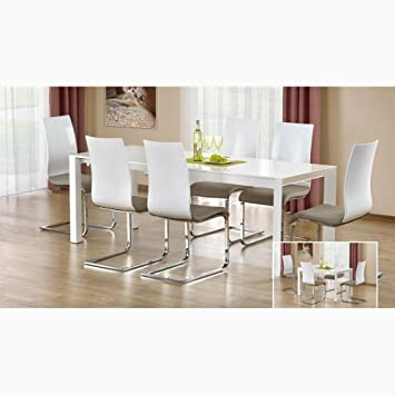 Justyou Table De Salle A Manger Stanford Xl Extensible Blanc Laque