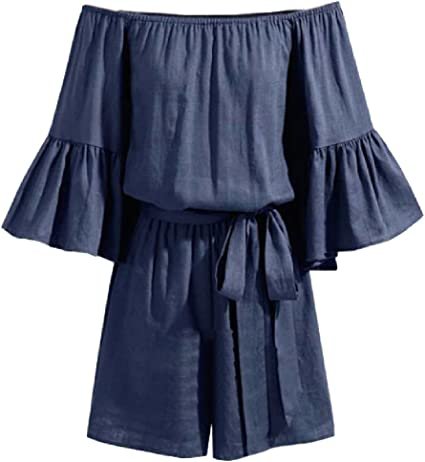 RRINSINS Womens Washed Ruffled Off The Shoulder Plus-Size Jumpsuits Denim Jumpsuit Romper