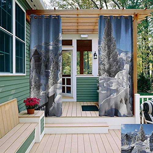 leinuoyi Alaska, Outdoor Curtain Modern, Winter Season in The North American Countryside Snow Covered Fields Trees, Outdoor Curtain Panels for Patio Waterproof W72 x L108 Inch White Sky Blue Brown (Dallas In North Best Patios)