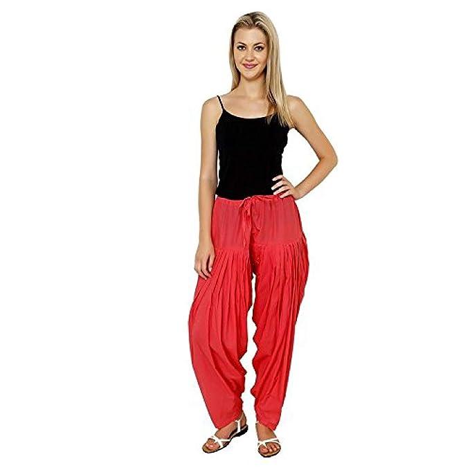 0098d88e3 TheCraftCompany Pantalones de Mujer de algodón 100% Liso Rojo Patiala Salwar  Yoga Harem Yoga Pant para Mujer y niñas Vestido de tamaño Libre  Amazon.es   ...