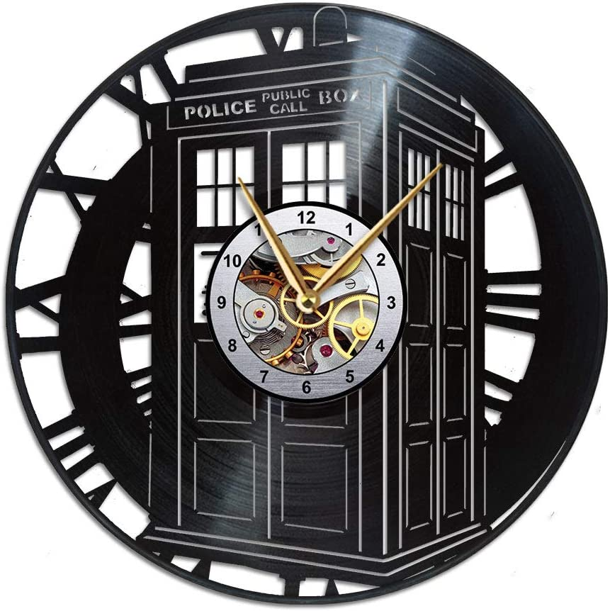 AroundTheTime - Doctor Who Clock - Tardis Gift Decor - Vinyl Record Wall Clock