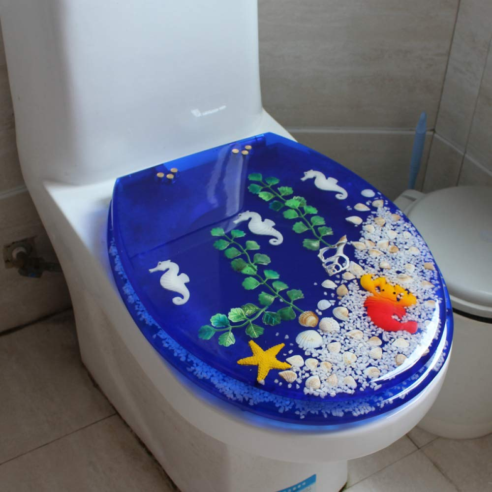 D Toilet Seats Toilet Lid, O Type V Type U Type Universal color Cartoon Universal With Antibacterial Resin Thicker With 2 Fitting Kits,I
