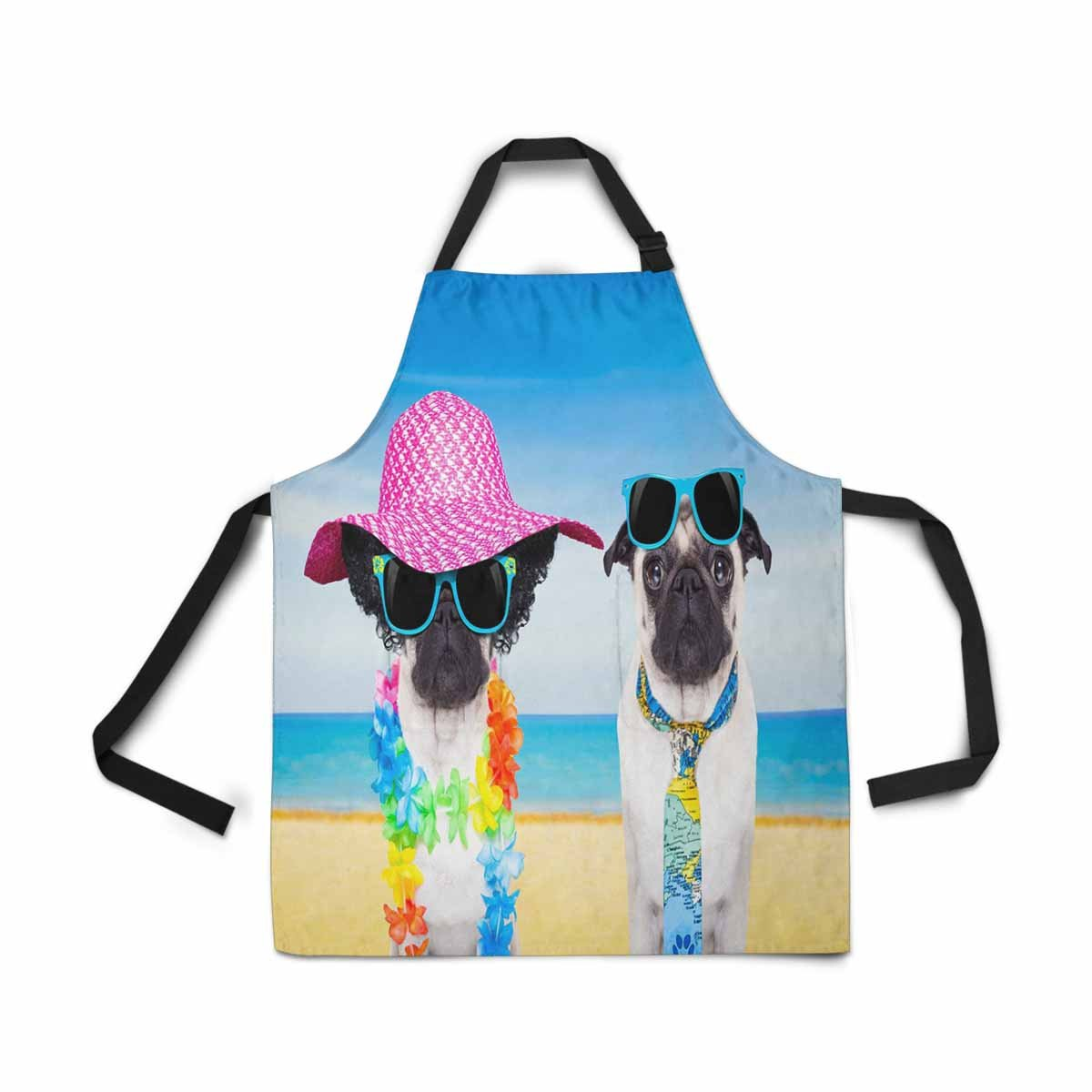 InterestPrint Adjustable Bib Apron for Women Men Girls Chef with Pockets, Summer Seashells Collage Novelty Kitchen Apron for Cooking Baking Gardening Pet Grooming Cleaning