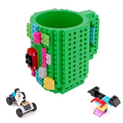 Build-On Brick Mug with Toy Man Set - Green Building Toy Cup Unique DIY Blocks Cup Funny Gift 12oz: Kitchen & Dining