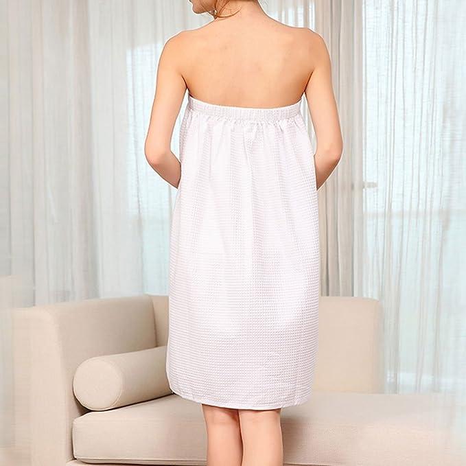 Amazon.com: eDealMax algodón de la señora Bowknot Ajustable Waffle bañera de hidromasaje Abrigo del Cuerpo de 74cm Longitud Blanca: Home & Kitchen
