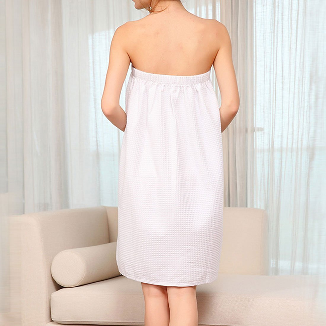 DealMux Cotton Lady Bowknot Adjustable Waffle Spa Bath Body Wrap 74cm Length White