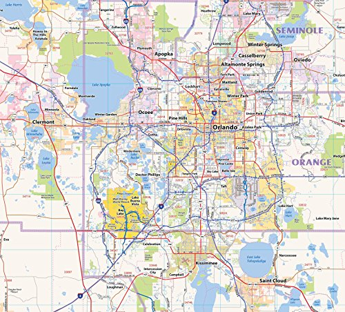 Central Florida Laminated Wall map (60''Wx48''L) by Topographics (Image #1)