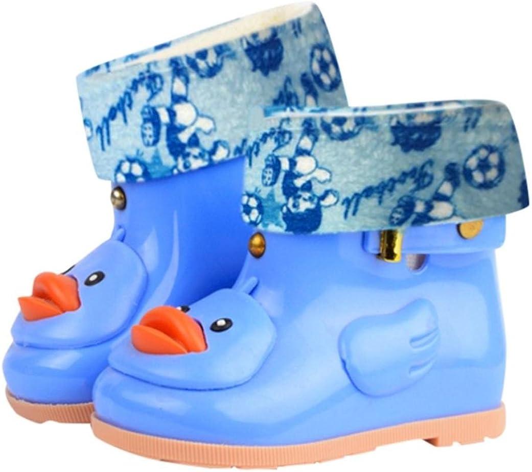 XEDUO Kids Children Baby Cartoon Duck Rubber Waterproof Warm Boots Rain Shoes