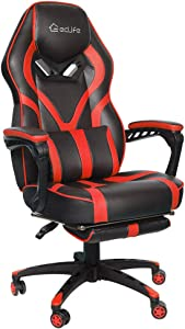 Office Chair Video Game Chair,Gaming Chair Racing Style,High Back PU Leather PC Racing Computer Desk Office Swivel Recliner with Retractable Footrest and Adjustable Lumbar Cushion Support (Red)