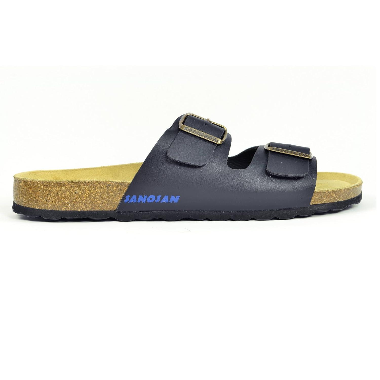 339a8aa71 Mens Sanosan Aston Designer Double Buckle Sandals Comfort Flip Flops Pool  Mules  Amazon.co.uk  Shoes   Bags