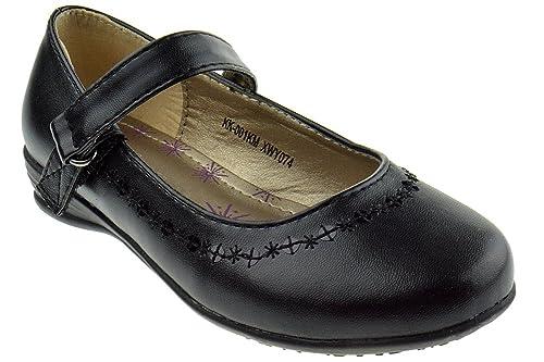 a2951a39454a9a KK 001KM Little Girls Ballerina Buckle School Shoes Black 11