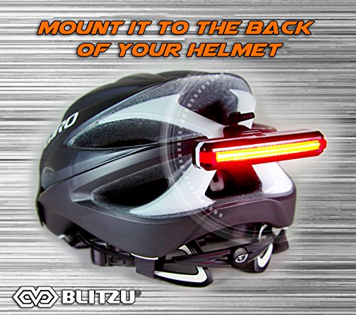 BLITZU Ultra Bright Bike Light Cyborg 168T USB Rechargeable Bicycle Tail Light. Red High Intensity Rear LED Accessories Fits On Any Road Bikes, Helmets. Easy to Install for Cycling Safety Flashlight by BLITZU (Image #8)