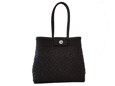 Tienda Elena, sac cabas mexicain noir uni, tissé à la main