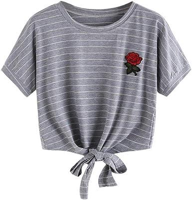 Camisas Mujer, Xinan Blusa de Mujer Sexy Tops Halter Apliques Rose Manga Corta Camisa Casual Chaleco: Amazon.es: Ropa y accesorios